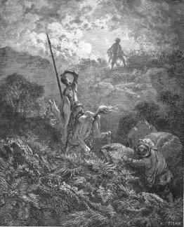 Don Quijote y Sancho encuentran al loco Cardenio vagando por los montes de Sierra Morena