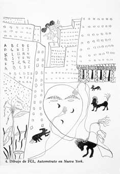 Dibujo de Federico García Lorca en Nueva York