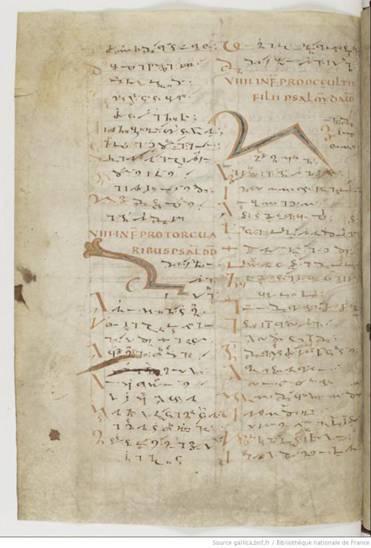 París, Biblioteca Nacional de Francia, lat. MS 190 Vista del margen derecho del folio escrito en Tironias (siglo XC)