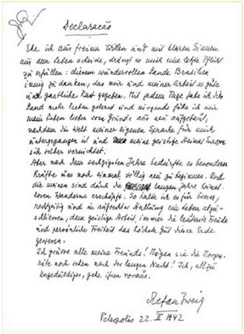 Carta de Stephan Zweig antes de su suicidio