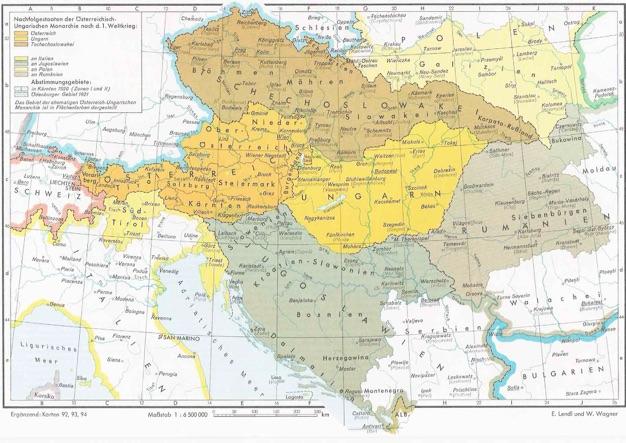 Los estados sucesores del Imperio Austrohúngaro en 1918